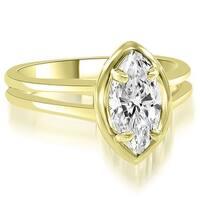 0.50 cttw. 14K Yellow Gold Split Shank Marquise Cut Halo Diamond Engagement Ring