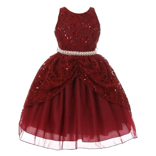 c50e8f59dd489 Shop Chic Baby Little Girls Burgundy Lace Sequins Pearl Christmas ...