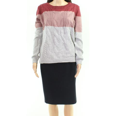 Pink Rose Pink Size Large L Junior Colorblock Cable Knitted Sweater