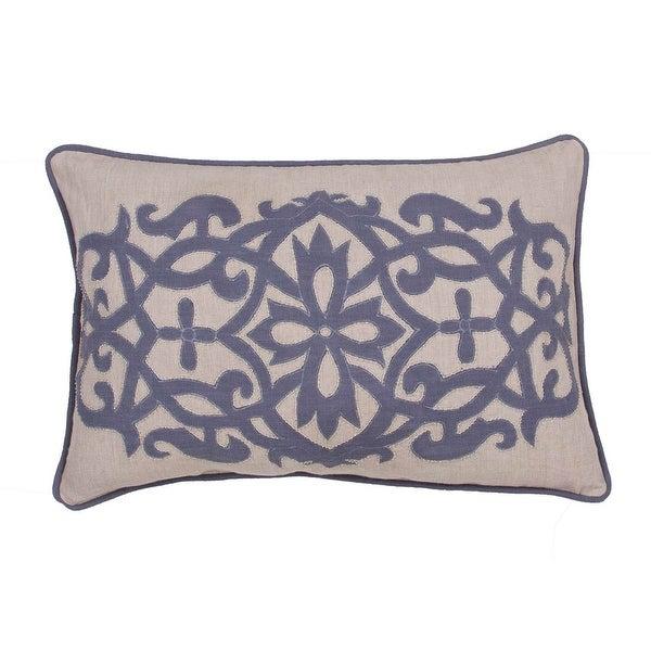 """16"""" x 24"""" Indigo Blue and Sahara Tan Linen Floral Pattern Indoor Decorative Throw Pillow"""