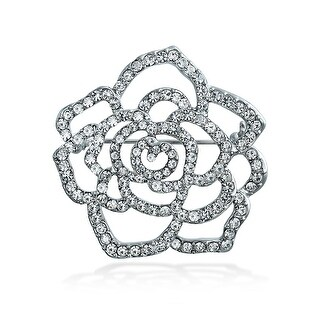 Bling Jewelry Pave Clear Crystal Flower Brooch Rose Pin Silver Plated