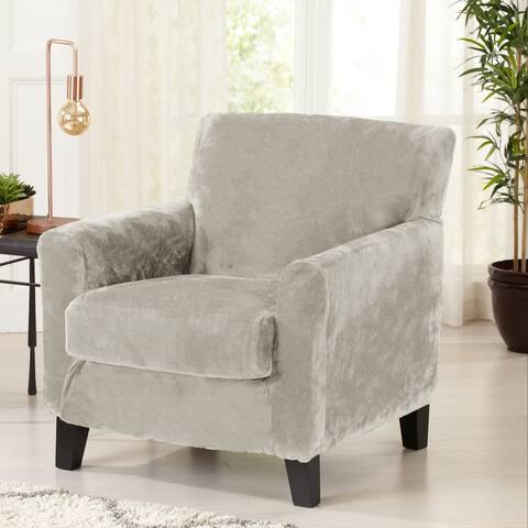Great Bay Home 2 Piece Velvet Plush Stretch Chair Slipcover