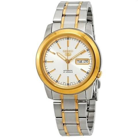 Seiko Men's SNKE54 'Seiko 5' Two-Tone Stainless Steel Watch - White