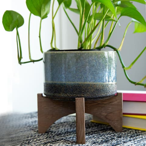 """Mid-Century 5.1"""" OPENING LAVA CERAMIC ON WOOD STAND,PINK AND MAUVE"""