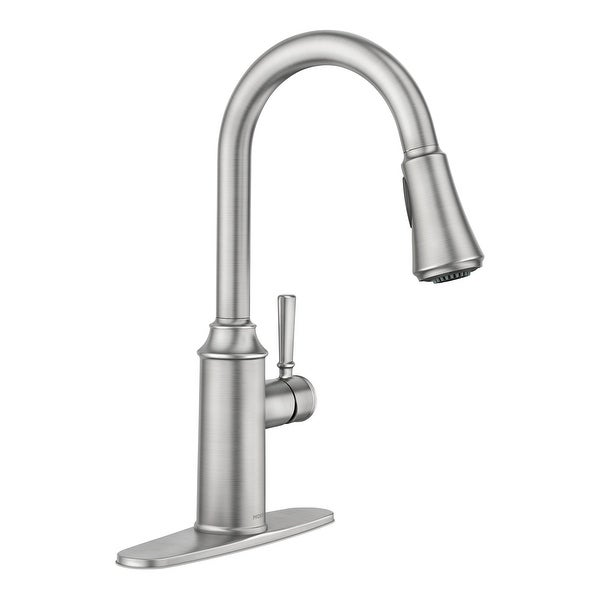 Moen 87801 Conneaut 1.5 GPM Single Hole Deck Mounted Pull Down Kitchen Faucet with Reflex and Power Clean