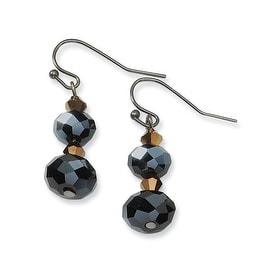 Black IP Downton Abbey Black Crystal Post Drop Earrings