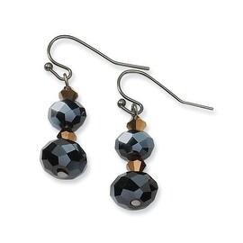 Black IP Black Crystal Post Drop Earrings