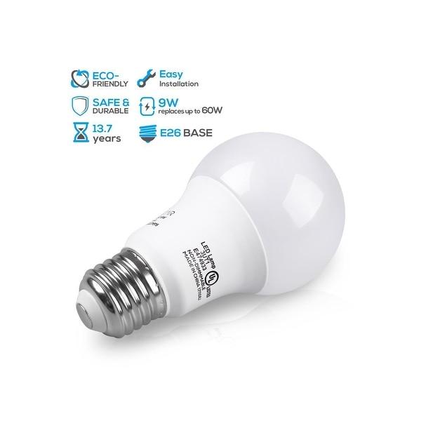 6 Pack LED 60 Watt Equivalent 9W 5000K Daylight White Light Bulb E26 A19 60W UL