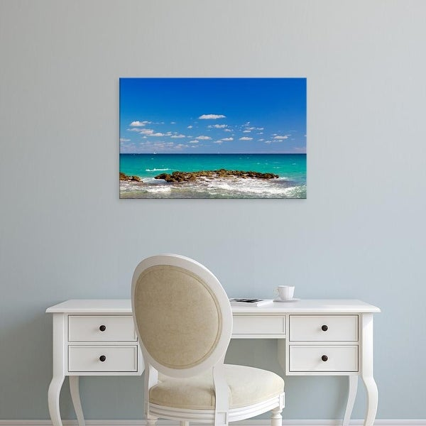 Easy Art Prints Panoramic Images's 'Surf on the beach, West Palm Beach, Florida, USA' Premium Canvas Art