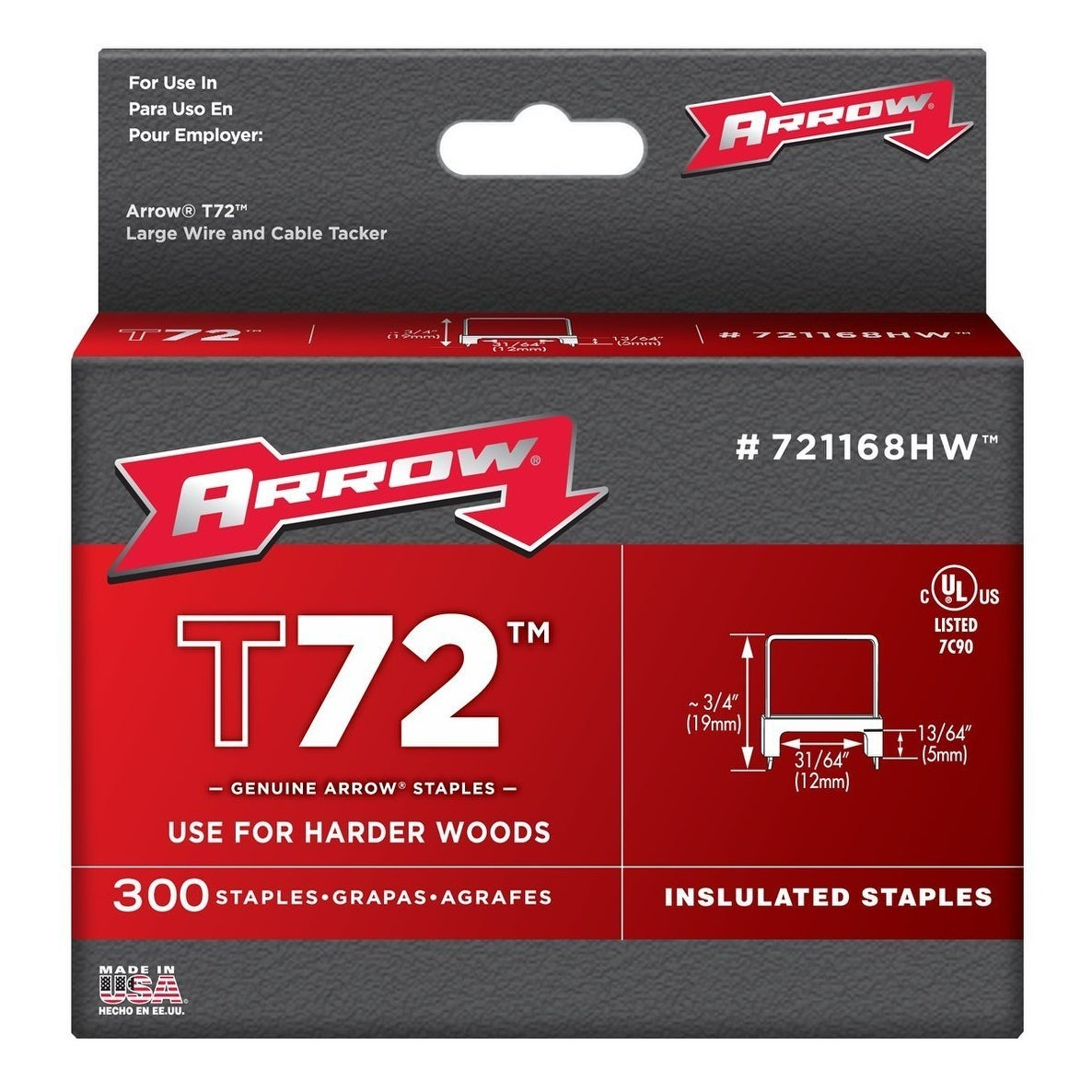 Arrow Fastener 721168HW Insulated Staples, 13/64 X 31/64