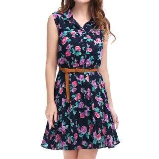 Women Floral Prints Sleeveless Belted Shirt Dress Navy Blue M - Navy blue