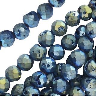 Dakota Stones Gemstone Beads, Agate Geode Druzy, Faceted Round 6mm, 8 Inch Strand, Iridescent Blue Green