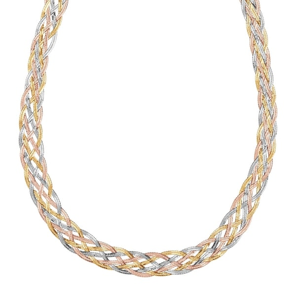 Just Gold Braided Herringbone Chain Necklace in 10K Three-Tone Gold
