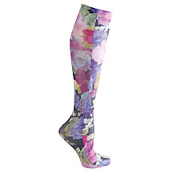 Women's Celeste Stein Printed Mild Compression Knee High Stockings - Purple Floral