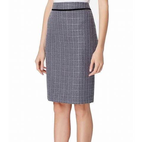 Tahari Women's Skirt Gray Size 0P Petite Straight Pencil Tweed Shimmer