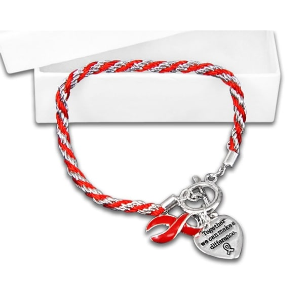Red Ribbon Bracelets - Rope for Heart Disease Awareness