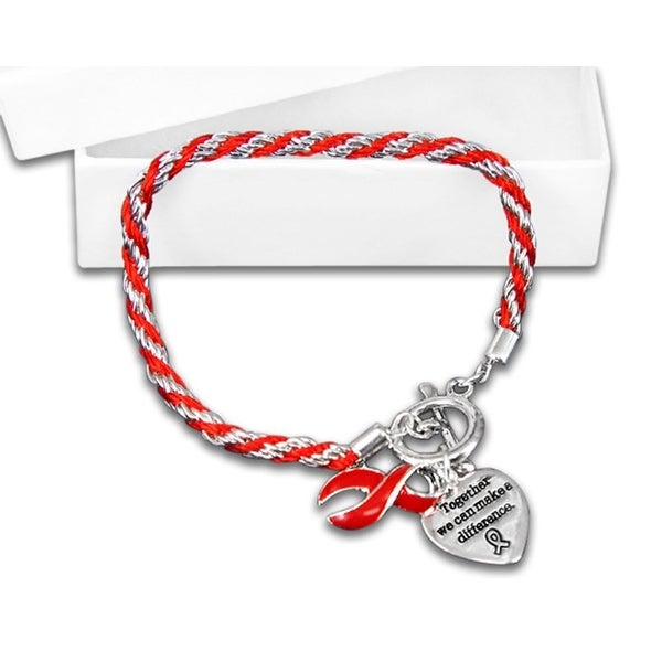 Rope Style Red Ribbon Bracelets for Heart Disease.
