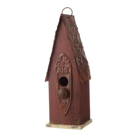 """Glitzhome 13""""H Wooden Distressed Garden Birdhouse"""