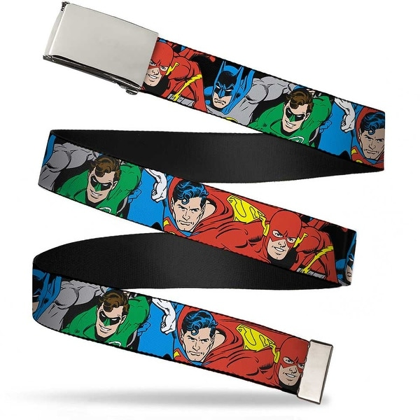 Blank Chrome Buckle Justice League Superheroes Close Up New Webbing Web Belt