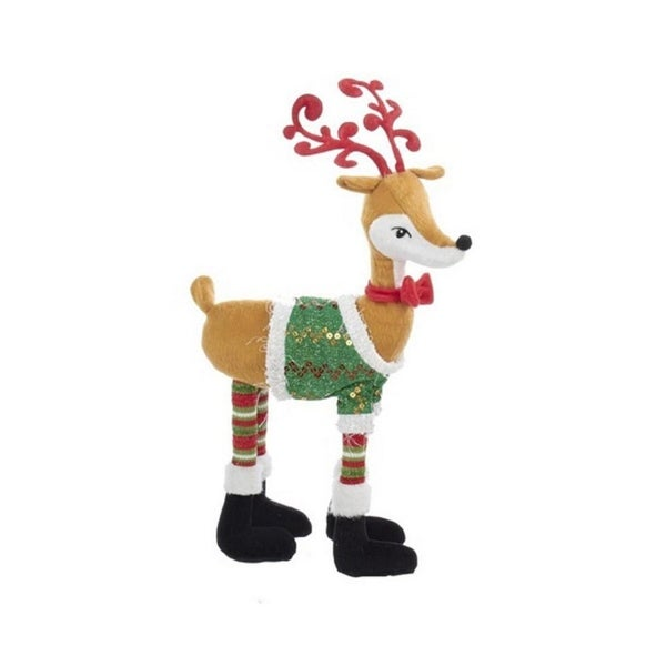 "18"" Boy Reindeer With Christmas Sweater Decorative Table Piece"