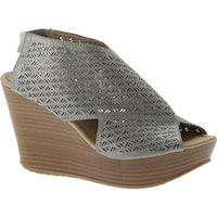 Kenneth Cole Reaction Women's Sole Safe Platform Wedge Sandal Pewter Polyurethane