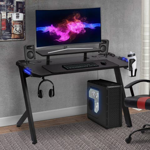 "48"" Gaming Computer Desk, Black (R-shape Leg)"
