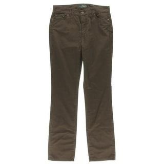 LRL Lauren Jeans Co. Womens Twill Solid Pants - 8