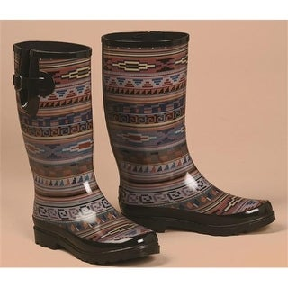 Womens Perry Tribal Round Toe Rain Boots, Multi Color - Size 6