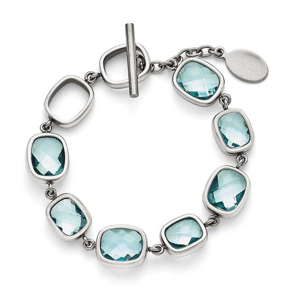 Chisel Stainless Steel Polished Blue CZs Toggle with .5in. ext. Bracelet