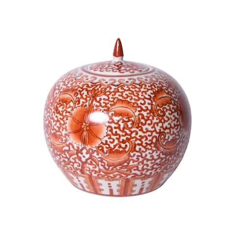 Coral Red Twisted Lotus Melon Jar - 10x10x10