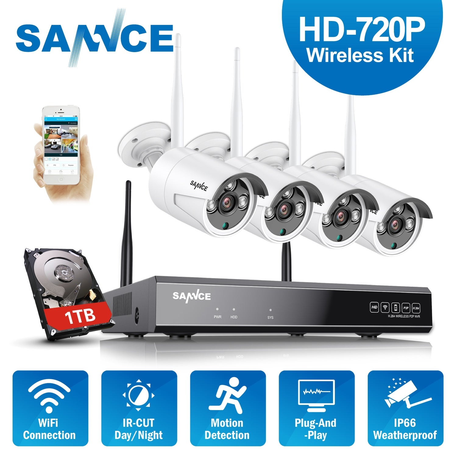 2MP Wireless Security Camera System IR-CUT 1080p 4CH WIFI NVR w// 1TB Hard DriBE