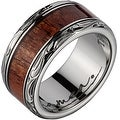 Titanium Wedding Band with Koa Wood Inlay & Leaf Designed Edges 10mm - Thumbnail 0