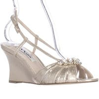 Nina Viani Jeweled Wedge Strappy Dress Sandals, Taupe Reflective