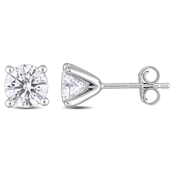 Miadora 2ct DEW Moissanite Solitaire Stud Earrings in Sterling Silver - 6.6 mm x 6.6 mm x 6 mm. Opens flyout.