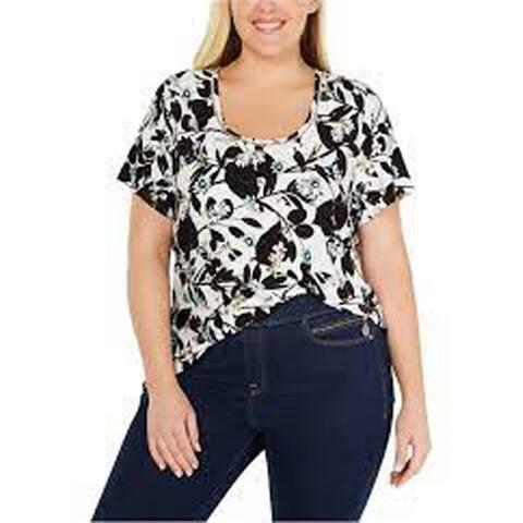 Tommy Hilfiger Plus Floral Print Ladder Trim T-Shirt, Ivory/Black Multi, 1X
