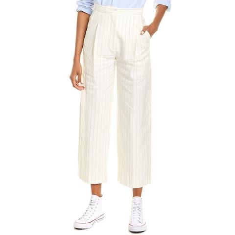 Sandro Davis Striped Wide Leg Linen-Blend Pant