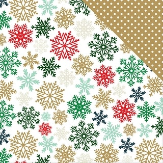 """Deck The Halls Foil Double-Sided Cardstock 12""""X12""""-Glimmering Snowflakes"""