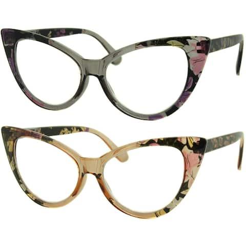 Womens Cat Eye Reading Glasses, 4 Pairs