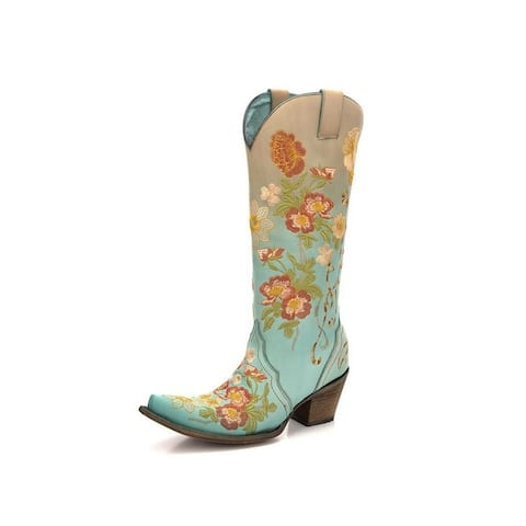 Corral Western Boots Womens Floral Snip Toe Pull On Turquoise