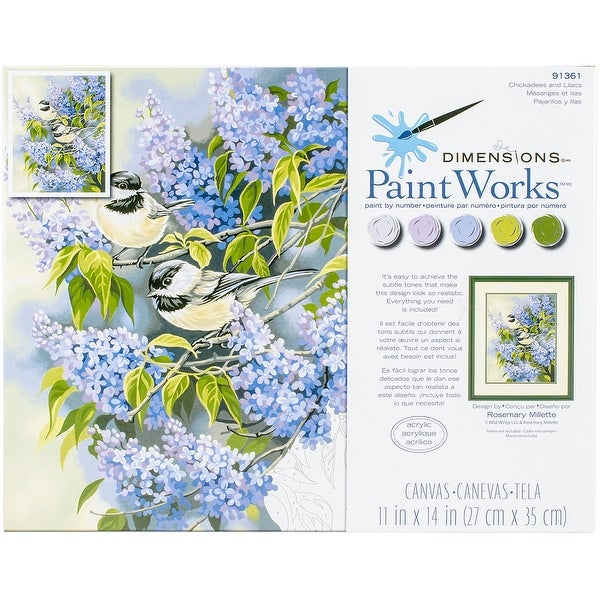 """Paint Works Paint By Number Kit 11""""X14""""-Chickadees & Lilacs"""