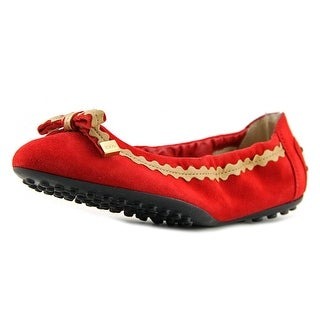 Tod's Ballerina Dee Passam. Fiocco Pelle Youth Round Toe Suede Red Ballet Flats