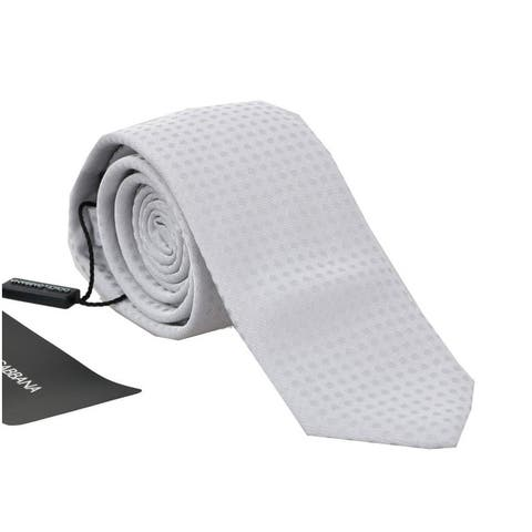 Dolce & Gabbana White Silk Polka Dot Pattern Men's Tie - One Size