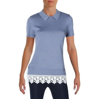 Tommy Hilfiger Womens Casual Top Collar Lace Trim