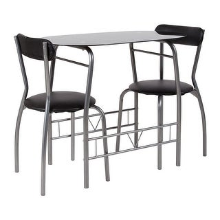 Offex 3 Piece Space Saver Bistro Set with Black Glass Top Table and Black Vinyl Padded Chairs