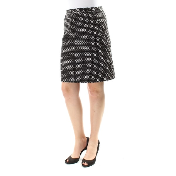 ANNE KLEIN Womens Black Geometric Above The Knee A-Line Skirt Size: 6