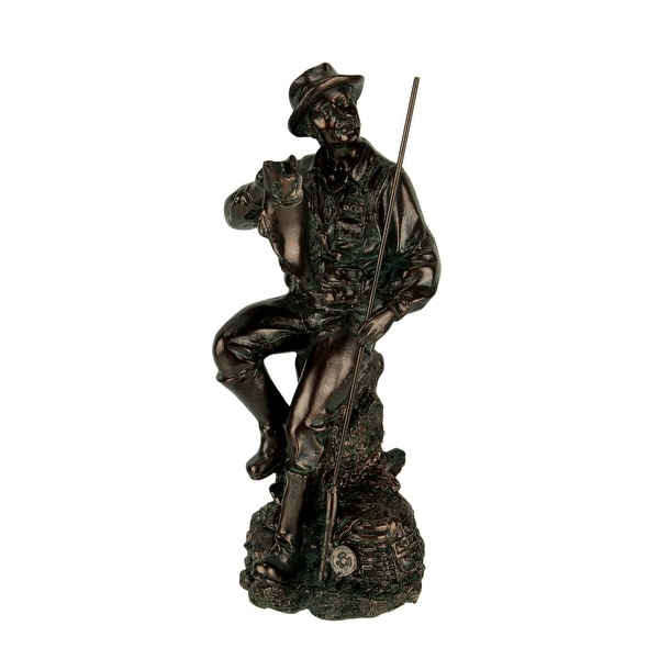 Antique Bronze Finish Fisherman with Big Fish Statue - 8.25 X 3 X 3 inches