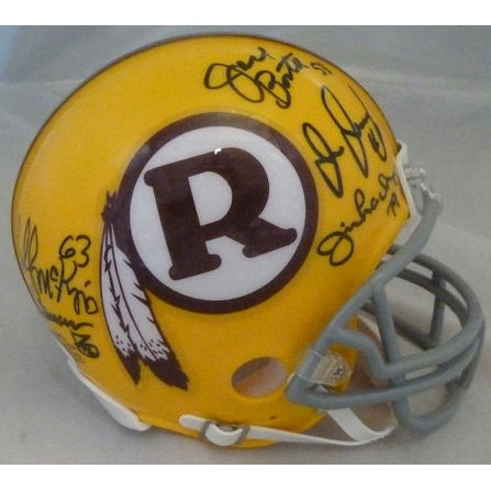 Washington Redskins Hogs Autographe Riddell Yellow Mini Helmet 10 signatures JSA
