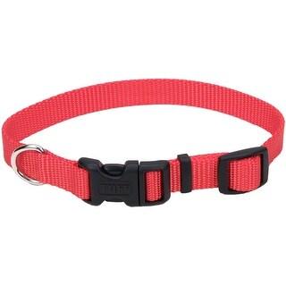 "Adjustable Nylon 5/8"" Dog Collar W/Tuff Buckle-Red, Neck Size 10""-14"""