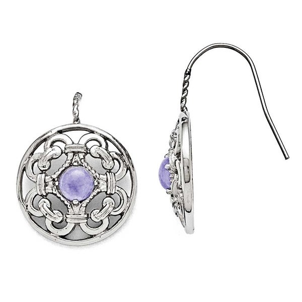 Chisel Stainless Steel Polished Synthetic Purple Calcedony Earrings