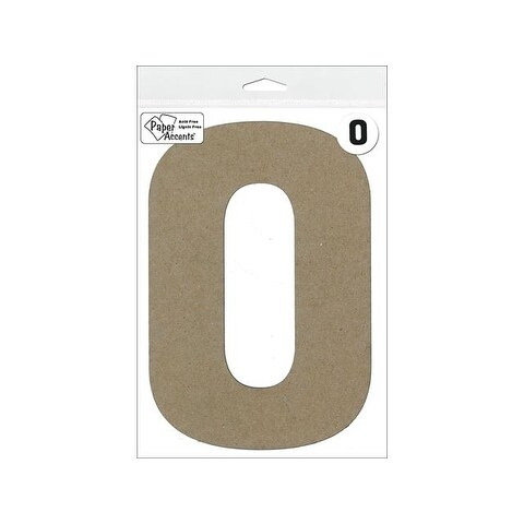 "Chipboard Number 8"" 0 1pc Natural"
